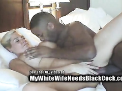 Leggy blondie enjoying hardcore interracial sex on the bed