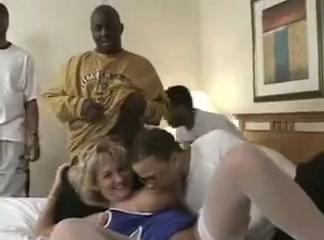 Busty white milf wife interracial cuckold gangbang