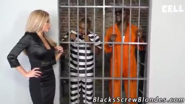 Russian blonde in lingerie gets two prison bbc's