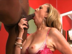 Blonde gilf in lingerie blows and rides big black dick