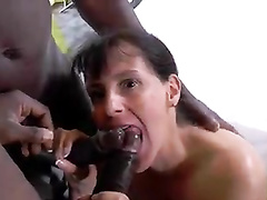 French wife gangbanged by 3 black cocks in front of hubby
