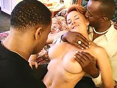 Redhead milf Janet Mason interracial threesome
